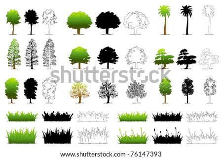 illustration of set of different tree on isolated background - stock vector
