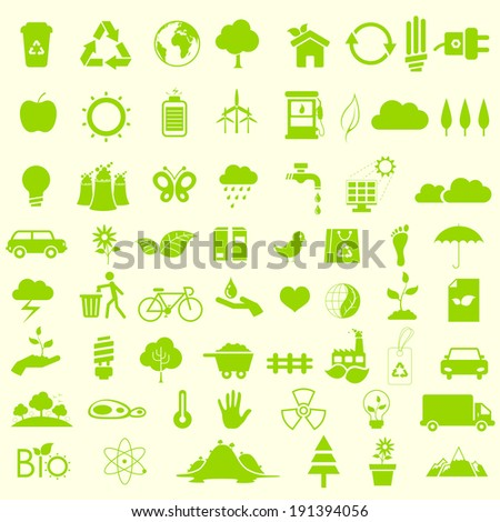 illustration of set of environmental recycle icon set - stock vector