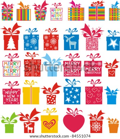 illustration of set of gift boxes for different occasion on isolated white background - stock vector