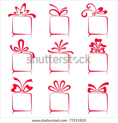 illustration of set of gift boxes on isolated white background - stock vector
