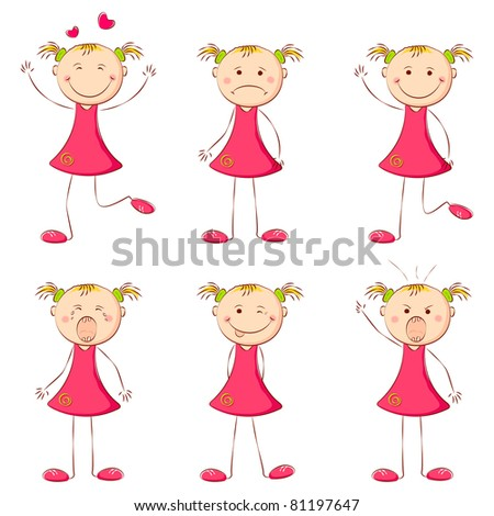 illustration of set of girl showing different expression - stock vector