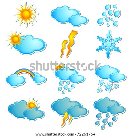 illustration of set of icon for different season on isolated white background