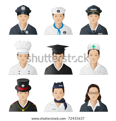 illustration of set of icon of woman in different professions on isolated background - stock vector