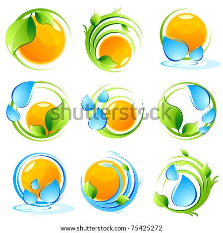 illustration of set of icon with sun, tree and water