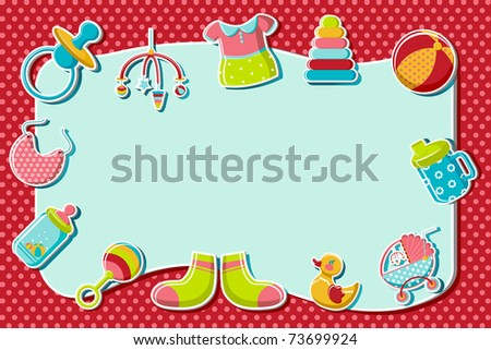 illustration of set of item related to baby on abstract background - stock vector