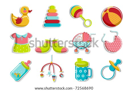illustration of set of item related to baby on isolated background - stock vector