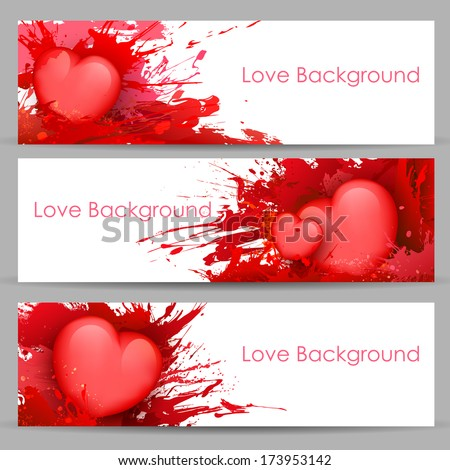 illustration of set of love banner with heart - stock vector