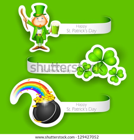 illustration of set of Saint Patrick's Day Label - stock vector