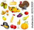 illustration of set of thanksgiving elements on white background - stock vector