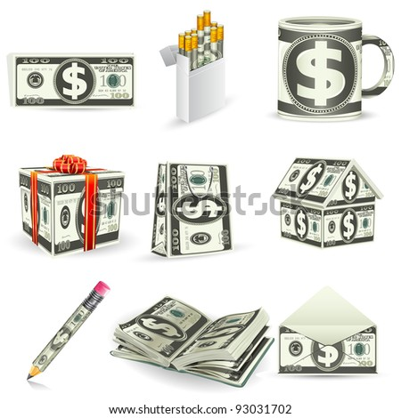 illustration of set of things made of dollar note - stock vector