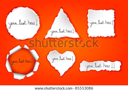 illustration of set of torn paper in different shape - stock vector
