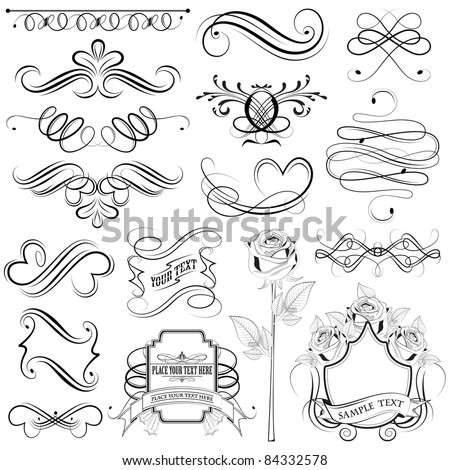 illustration of set of vintage design elements - stock vector