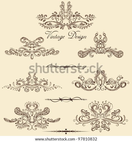illustration of set of vintage design elements - stock vector