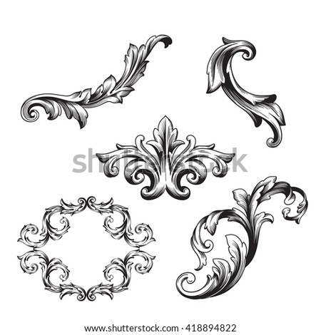Vintage baroque victorian frame border monogram stock for Baroque architecture elements