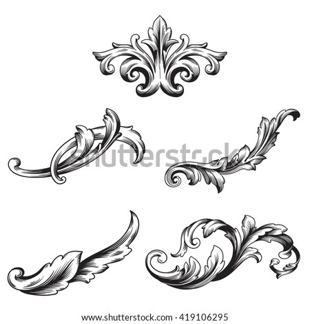 Illustration set vintage design elements baroque stock for Baroque architecture elements