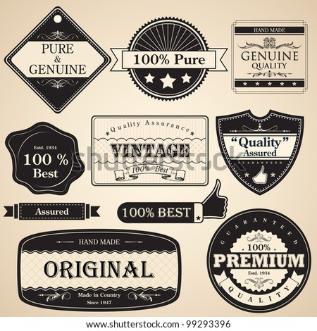 illustration of set of vintage selling badge for premium quality - stock vector