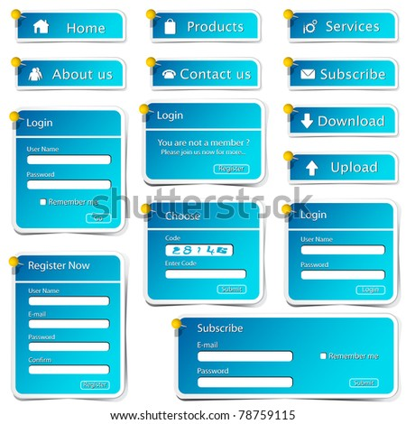 illustration of set of web form template in sticker style - stock vector