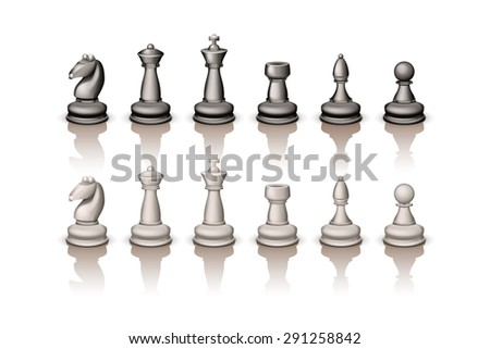illustration of set of white and black figures for chess on white with reflection - stock vector