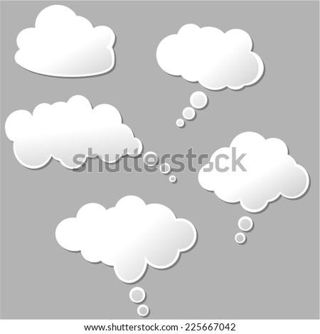 illustration of set of white design clouds - stock vector