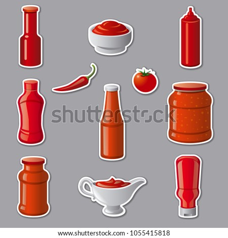 illustration of set tomato ketchups and sauces stickers