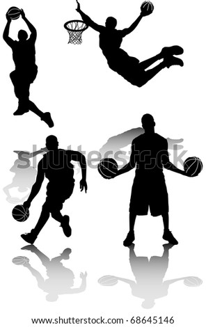 illustration of several silhouettes of basketball players - stock vector