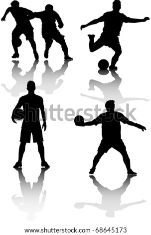 illustration of several silhouettes of soccer players - stock vector