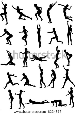 Illustration of sexy volleyball silhouettes - stock vector