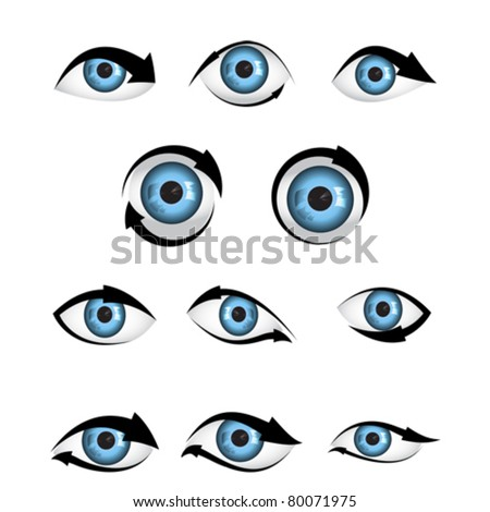 illustration of shape of eye blue  with arrow - stock vector
