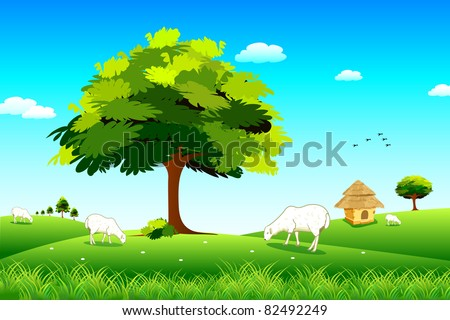 illustration of sheep grazing in grassland - stock vector