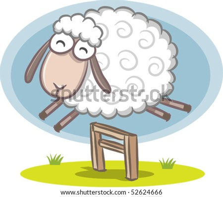 Illustration of Sheep jumping over the fence - stock vector