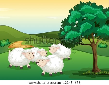Illustration of sheeps in a beautiful nature - stock vector