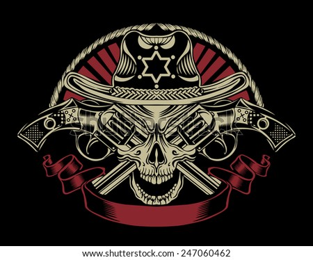 Illustration of Sheriff's skull with guns. - stock vector