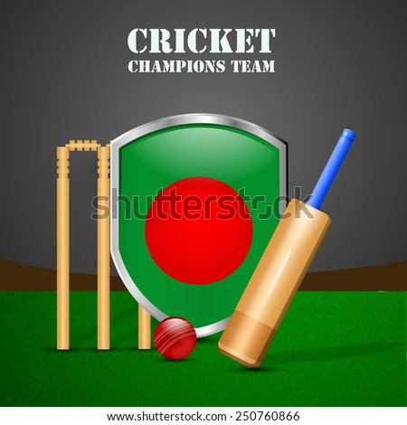 Illustration of Shield with Bangladesh Flag with Cricket elements