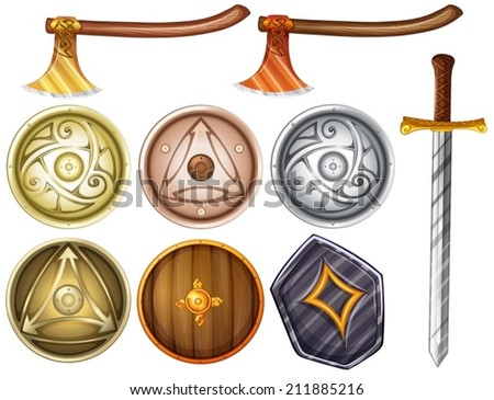 Illustration of shields and weapons - stock vector