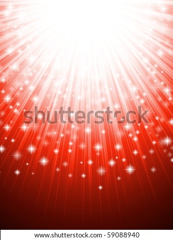 illustration of shining holiday background in red - stock vector