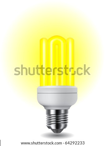 Illustration of shiny energy saving compact fluorescent lightbulb - stock vector