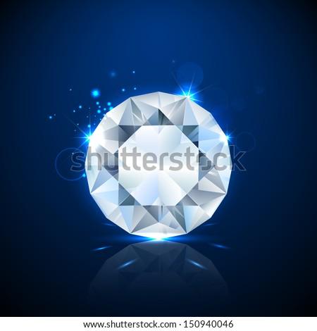 illustration of shiny sparkling diamond - stock vector