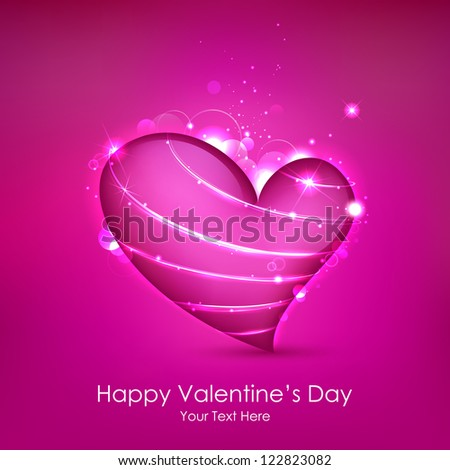 illustration of shiny Valentine heart on abstract background - stock vector