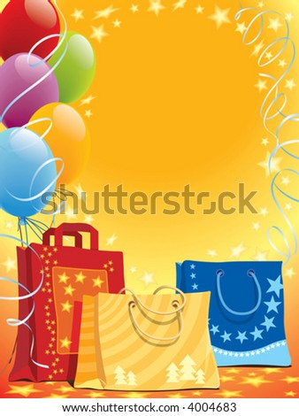 Illustration of shopping bags and colorful balloons - stock vector