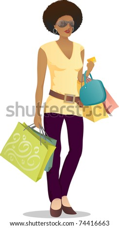 Illustration of shopping girl with credit card on her hand - stock vector