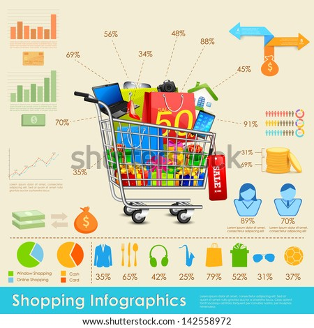 illustration of shopping infographics with statistics - stock vector