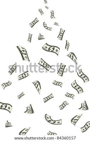 illustration of shower of dollar note falling down - stock vector