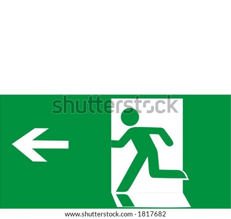 Illustration of sign Exit in green and white colors - stock vector