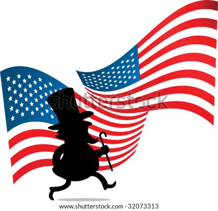 Illustration of Silhouette Man with big hat and US flag - stock vector