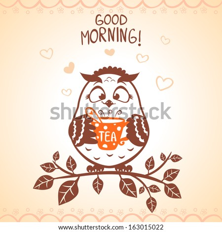 illustration of silhouette morning funny owl - stock vector