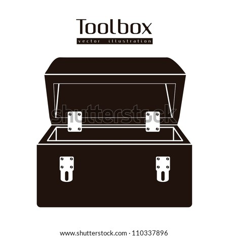 Illustration of silhouette of a tool box isolated on white background, vector illustration - stock vector