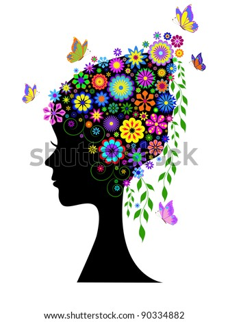 Illustration of silhouette of  girl  with flowers hair