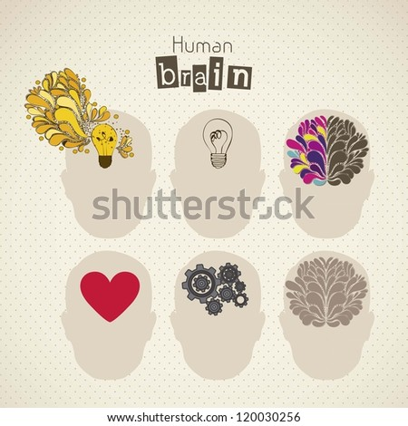Illustration of silhouette of man with brain, bulb, heart and gears, vector illustration - stock vector