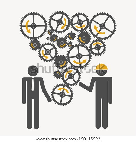 Illustration of silhouettes with gears - stock vector