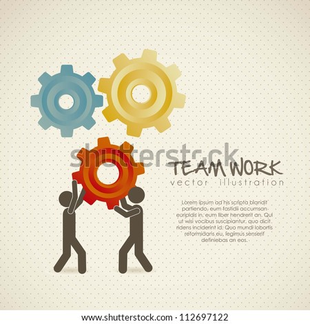Illustration of silhouettes with gears, team work, Vector Illustration